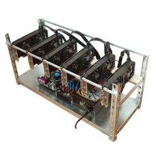 Ферма на 6 відеокарт XFX RX 580 GTS XXX Edition 8Gb (G3900,4Gb DDR4,GA-H110-D3A,Chief GPM-1000C+GDP-650C,SSD 60Gb,райзера,синхронизатор,алюм каркас)