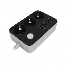 Мережевий фільтр-подовжувач ColorWay 3 розетки/6 USB Black (CW-CHE36B)