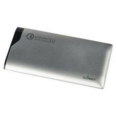 Зовнішній акумулятор PowerBank Globex Q100P 10 000 mAh Silver