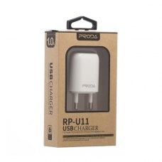 Мережевий зарядний пристрій Remax Proda Flat RP-U11 1А White