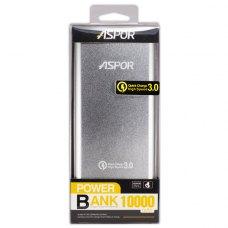 Зовнішній акумулятор PowerBank Aspor Q389 10000mAh Quick Charge 3.0 (Silver)