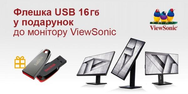 До моніторів ViewSonic флешка USB 16 Гб у подарунок