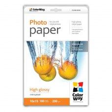 Папір ColorWay 10x15 (PG2001004R) 200 г/м2, 100 аркушів, глянець, водостійкий, картонна упаковка