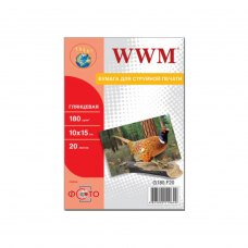 Папір WWM 10x15 (G180.F20) 180 г/м2, 20 аркушів, глянець