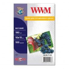 Папір WWM 10x15 (M180.F100) 180 г/м2, 100 аркушів, матовий