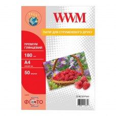 Папір WWM A4 (G180.50) 180 г/м2, 50 аркушів, глянець