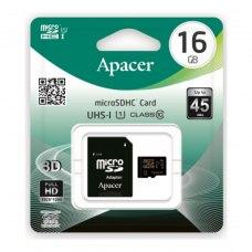 microSDHC карта 16Gb Apacer class10 з SD адаптером UHS-1 (AP16GMCSH10U1-R)