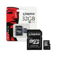 microSDHC карта, 32 Гбайт, class 10, з SD адаптером Kingston UHS-I (SDC10G2/32GB), R45/W10MB/s