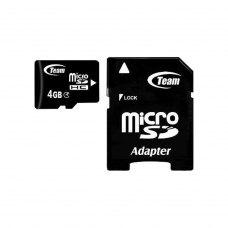 microSDHC карта 4Gb Team class4 з SD адаптером (TUSDH4GCL403)