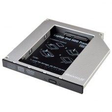 Адаптер підключення HDD 2.5 у відсік приводу 126 х 127 x 12 мм ноутбука HDD/SSD SATA/mSATA, Grand-X (HDC-25)