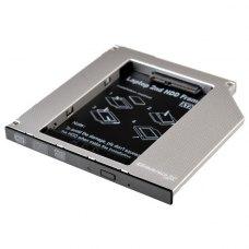 Адаптер підключення HDD 2.5'' у відсік приводу 129 x 130 x 9,5 мм ноутбука HDD/SSD SATA/mSATA, Grand-X (HDC-24)