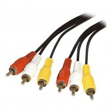 Аудіо-відео кабель 3RCA-тюльпан (папа) to 3RCA-тюльпан (папа), 500см, Atcom (10713), пакет, 5м