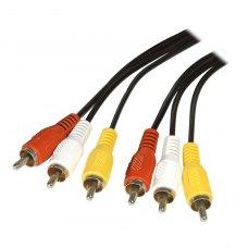 Аудіо-відео кабель 3RCA-тюльпан (папа) to 3RCA-тюльпан (папа), 750см, Atcom (13275), пакет, 7,5м