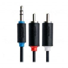 Аудіо-кабель miniJack 3.5mm (папа) to 2RCA-тюльпан (папа), 150см, Prolink (PB103-0150), нікеліровані конектори, блістер, 1.5м