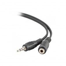 Аудіо-кабель miniJack 3.5mm (папа) to miniJack 3.5mm (мама), 500см, Gembird (CCA-421S-5M), золотисті конектори, стерео, 5м