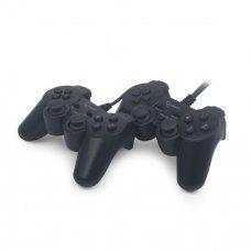 Геймпад 2шт у комплекті, Gembird Gaming JPD-UDV2-01 USB Black, подвійна вібрація, 2 джойстика, 10 кнопок, 4-позиційний D-Pad, Blister