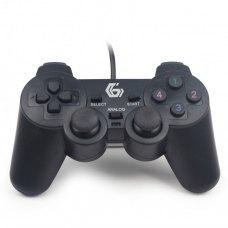 Геймпад Gembird Gaming JPD-UDV-01 USB Black, подвійна вібрація, 2 джойстика, 10 кнопок, 4-позиційний D-Pad, Blister