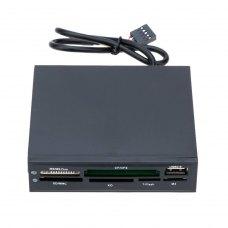 Зчитувач флеш-карт, внутрішній, Atcom all in 1 + USB 2.0 port, чорний пластик USB 2.0