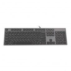Клавіатура дротова, A4Tech KV-300H USB (Grey+Black), стандартна, 2хUSB розєми, ножнична розкладка 104 клавіш, X-slim