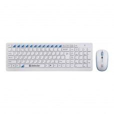 Комплект бездротовий (клавіатура+мишка), Defender Skyline 895 Nano White, (45895) білий