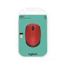 Мишка бездротова, Logitech M171 Red Black радіо (910-004641), ноутбучна, оптична 1000 dpi, 2кн+1кол, 1xAA, USB-нано Plug-and-forget, червоний з чорним