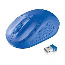 Мишка бездротова, Trust Primo (20768), ноутбучна, оптична 1600dpi, 2кн+1кол, 2xAAA, USB-нано, Blue, RTL