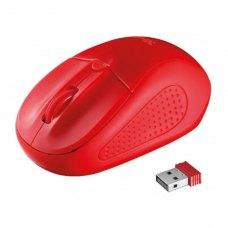 Мишка бездротова, Trust Primo (20787), ноутбучна, оптична 1600dpi, 2кн+1кол, 2xAAA, USB-нано, Red, RTL