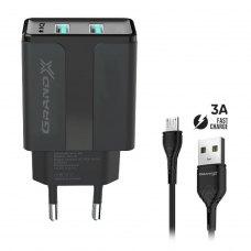 МЗП Grand-X USB 5V, 2,1A (CH-15UMB) + micro USB, із захистом від перевантаження, Black