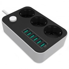Мережевий фільтр, 1.8м, 3 розетки + 6 USB, ColorWay (CW-CHE36B), чорний