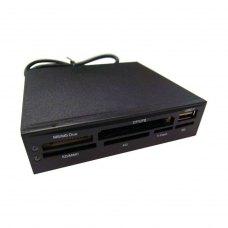 Зчитувач флеш-карт, Dynamode USB-ALL-INT USB2.0 All in 1 с USB2.0 - портом пластик, 6 слотов T-flash (MicroSD) - microSD без адаптера, SD/MMC, xD, CF/