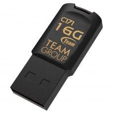 USB флеш, 16 Гбайт, Team C171 Black (TC17116GB01), USB 2.0, пластик, чорний, вушко для кріплення до брелока, Пило-, волого-, ударостійка