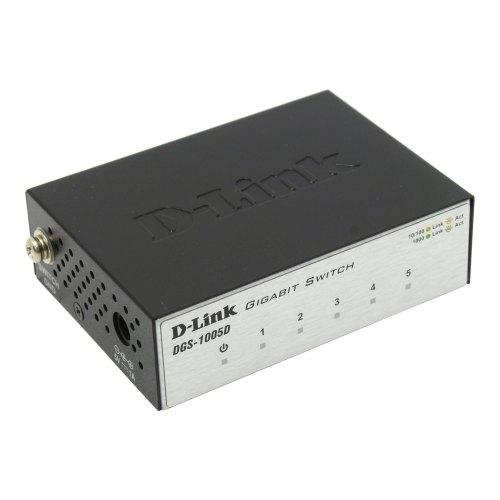 Комутатор мережевий D-Link DGS-1005D 5x10/100/1000TX, Пластиковий