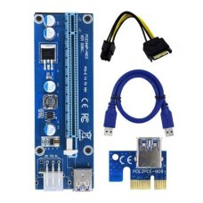 Райзер Dynamode PCI-E x1 to 16x 60cm USB 3.0 Cable SATA to 6Pin Power v.007 Blue (якісний червоний кабель, 270mF)