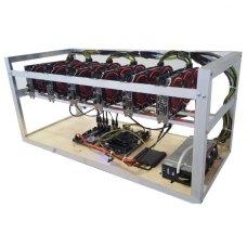 Ферма на 6 відеокарт  AXLE AMD Radeon RX570 Mining Edition 8Gb (G3930, 4Gb DDR4, PRIME H270-PLUS, Kenweiipc 1600 Вт Gold;SSD 60Gb,райзера,алюм каркас)