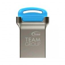 USB флеш 16Gb Team C161 Blue (TC16116GL01) USB 2.0 метал срібло/синій вушко для кріплення до брелока захист від пилу та вологи