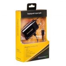 МЗП Grand-X USB 5V, 2,1A (CH-35B) 2USB із захистом від перевантаження + кабель microUSB, Black