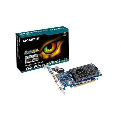 Відеокарта Gigabyte GeForce 210 1024Mb (GV-N210D3-1GI) GT218,  40 нм, DDR III, 590MHz/1200MHz, 64 Bit, активне, PCI-Ex 16 v2.0, DVI, D-sub, HDMI, підт