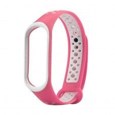 Браслет для Xiaomi Mi Band 4 / 3 (2-colors silicone strap) White/Pink