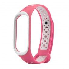 Браслет для Xiaomi Mi Band 3 (Sport silicone) Pink/White