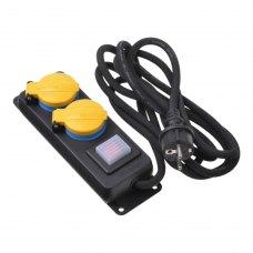 Мережевий подовжувач, 2Е 2XSchuko ІР44 з захистом, вимикачем 3G1.5*3M, Чорний (2E-U02ESPM3)
