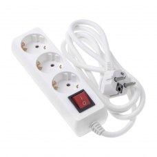 Мережевий подовжувач, 2Е 3XSchuko з вимикачем 3G1.5*3M, білий (2E-U03ESM3)