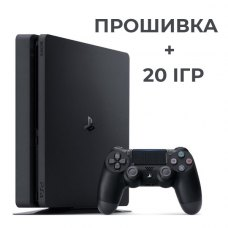 Ігрова консоль PS4 slim 1TB black+ прошивка + 20 игр