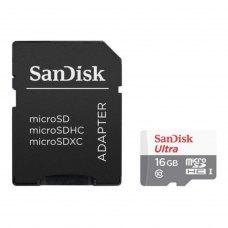 microSDHC карта 16Gb SanDisk Ultra UHS-I class10 з SD адаптером (SDSQUNS-016G-GN3MA)