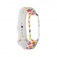 Браслет для Xiaomi Mi Band 4 / 3 (silicone) White with flowers