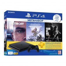 Ігрова приставка PlayStation 4 1Tb Чорна (Horizon Zero Dawn. Complete Edition & Detroit & The Last of Us + підписка PSPlus на 3 місяці)