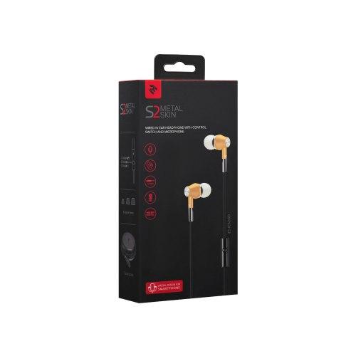 Навушники дротові з мікрофоном, 2E S2 Metal Skin Gold (2E-IES2GD)