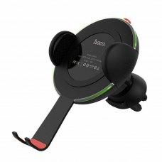 Автотримач + бездротовий зарядний пристрій HOCO CW4A Noble Rank (1.8A + Qi Fast harge), Black
