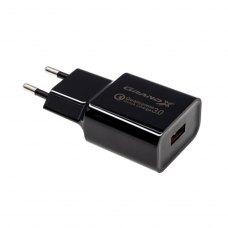 Мережевий зарядний пристрій Grand-X CH-350 (USB 3.6V-6.5V 3A, 6.5V-9V 2A, 9V-12V 1.5A QС3.0), color Black (CH-350B)