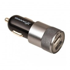 АЗП Grand-X  2,1A, 12-24V,  2USB 5V/2.1A (CH-26BM) + DC cable USB/Micro USB,1m, Black