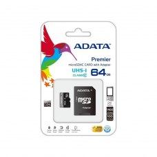 microSDXC карта 64Gb A-Data class10 з SD адаптером UHS-I (AUSDX64GUICL10-RA1)